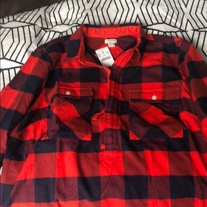 JCrew Buffalo Plaid Flannel Pullover with Zipper